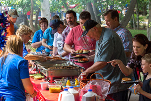 Grabbing some food at pavilion