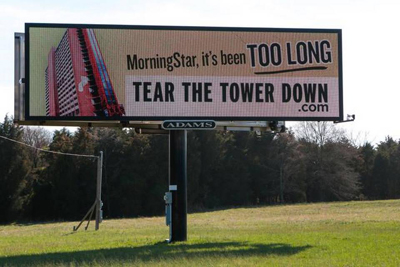 A message on this billboard on Carowinds Boulevard in Fort Mill references how long it's been since MorningStar took over the former PTL tower. | Jeff Sochko JEFF SOCHKO