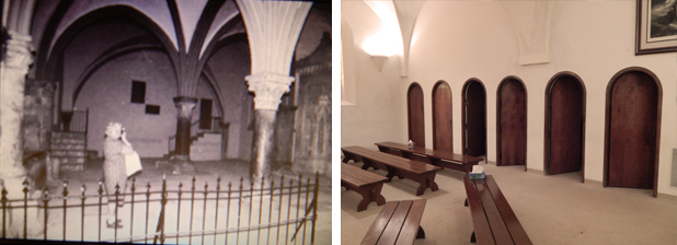 Left; rivate prayer closets inside the Upper Room, Right; Upper Room in Jerusalem (pictures courtesy of Russell James)