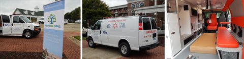 New ambulance Barry Segal is presenting to the people of Israel by Vision for Israel parked outside of MorningStar Ministries.